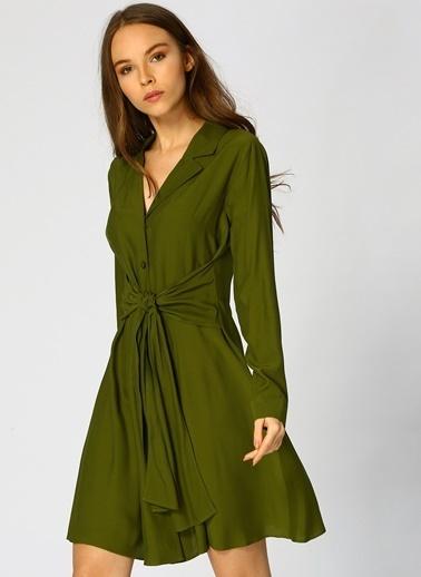 Random Uzun Kollu Önü Düğmeli Elbise Yeşil